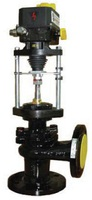 Клапан запорно-регулирующий чугунный угловой фланцевый с ЭИМ тип: 26Ч945П