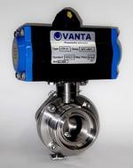 Затвор дисковый поворотный для пищевой промышленности с пневмоприводом с возвратной пружиной VANTA 12-056-62
